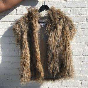 BCBG Faux Fur Vest with Hoodie